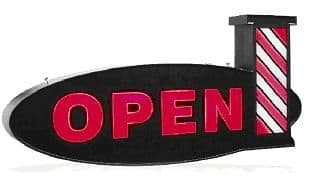 Open Barbers + Pole Lightbox Sign