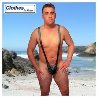 Black Mankini Thong | Wet Look | Borat Fancy Dress