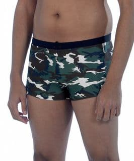 Green camouflage men's swimming trunks