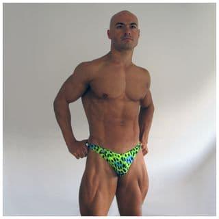 Mens Green Leopard Swim Thong
