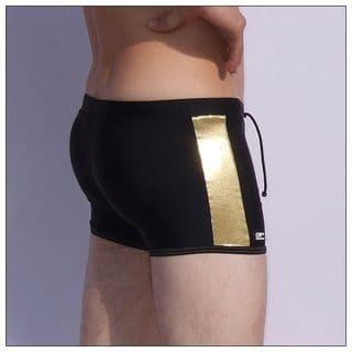 Mens Swmming Trunks - Black & Gold - Swm Trunks for Men
