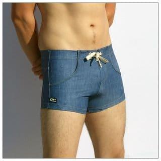 Mens Swimming Trunks - Denim Look - Swim Trunks for Men