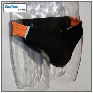 Swim Brief - Orange Black Sport - 5cm Side