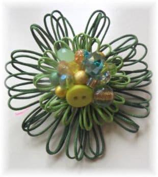 All the Greens Embellished Flower Brooch