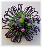 Aubergine &Lime Hue Flower Brooch