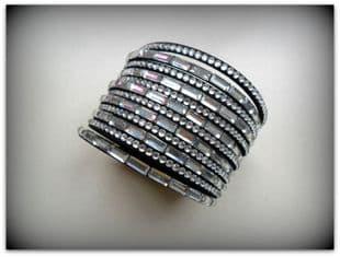 Black Diamante Strap Cuff Bracelet