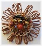 Caramel Cream Hue Embellished Flower Brooch