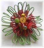 Lime & Red Hue Embellished Flower Brooch