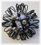 Monochrome Embellished Flower Brooch