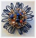 Navy & Caramel Hue Embellished Flower Brooch