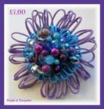Purple & Turquoise Hue Embellished Flower Brooch