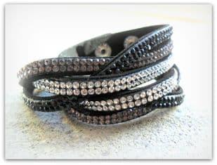 Twisted Black Grey Clear Stud Diamante Strap