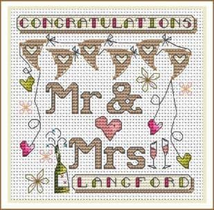 Wedding Bunting Card - Lime & Rose