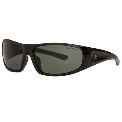 Greys G1 Polarised Sunglasses Gloss Black Frame, Green/Grey Lens