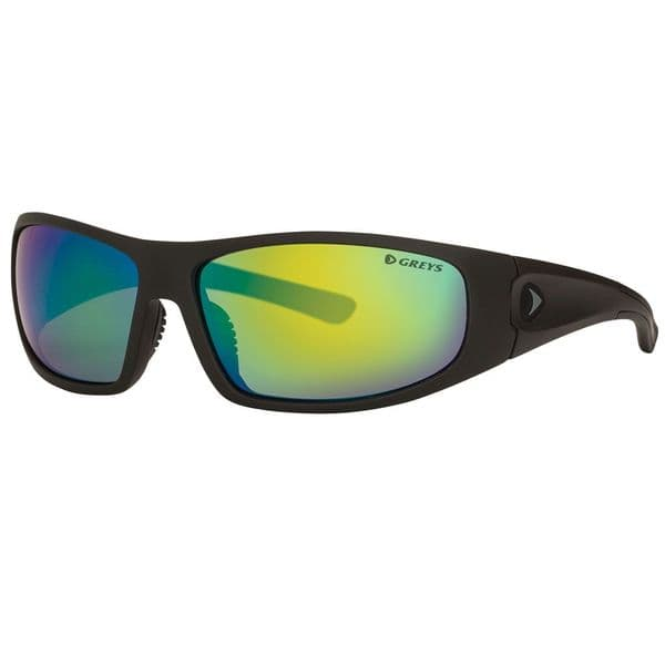 Greys G1 Polarised Sunglasses Matt Carbon Frame, Green Mirror Lens