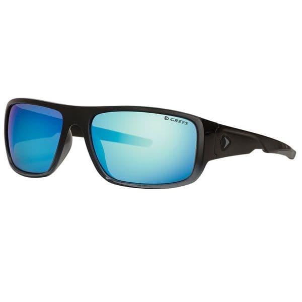 Greys G2 Polarised Sunglasses Gloss Black Frame, Blue Mirror Lens