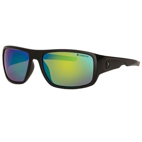Greys G2 Polarised Sunglasses Gloss Black Frame, Green Mirror Lens