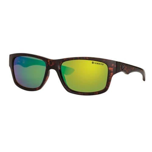 Greys G4 Polarised Sunglasses Gloss Tortoise Frame, Green Mirror Lens