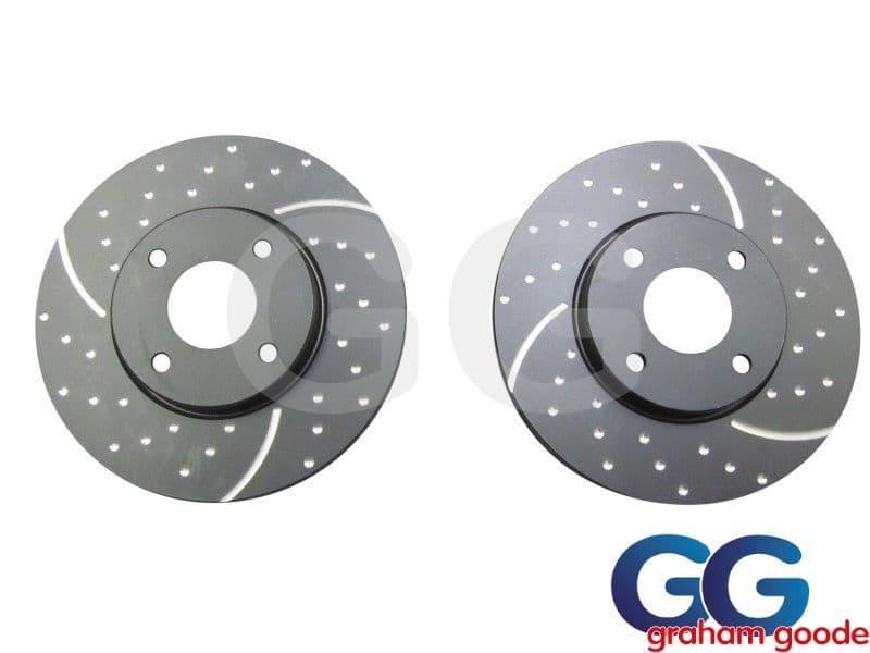 Front Brake Discs x 2 Ford Fiesta Zetec S1600 MK7 EBC Grooved GD1676