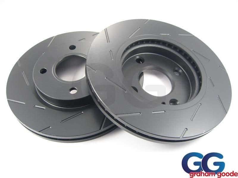 Front Brake Discs x 2 Ford Fiesta Zetec S1600 mk7 EBC Grooved USR1676