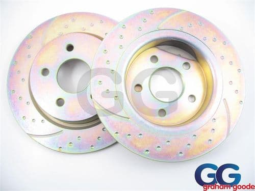 Front EBC Brake Discs Impreza Newage Brembo Calipers 2002-2005 100PCD Uprated Dimpled GD1056