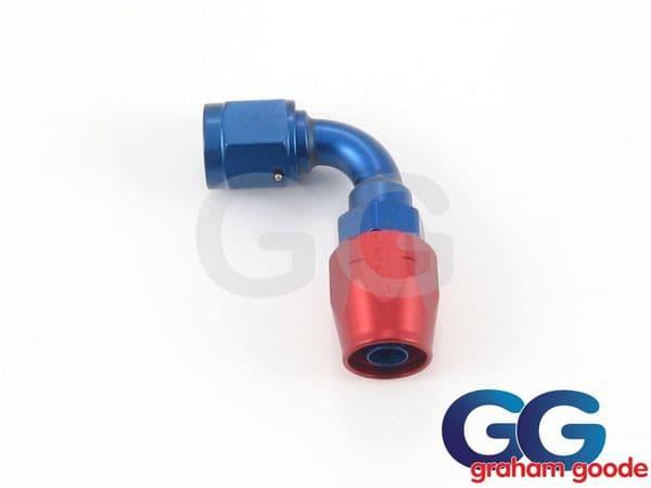 Goodridge 200 Series Dash 6JIC 200.6 Fuel Hose 90 Degree Tubular Fitting Blue/Red Anodised 236-9006