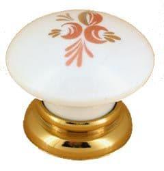 Sendio Porcelain Cabinet Drawer Cupboard Knobs  Printed 106 - Satin Silver Finish