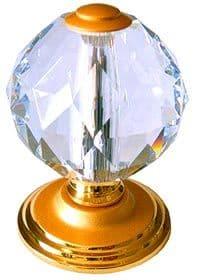 Venus Cut Crystal Center Pull Door Knobs - 24C Natural Gold Finish