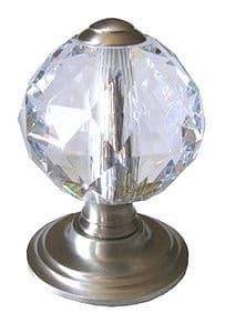 Venus Cut Crystal Center Pull Door Knobs - Satin Silver Finish