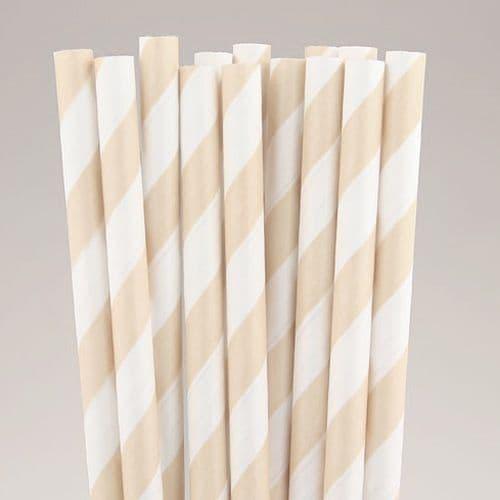 Χάρτινα Καλαμάκια Εκρού Ριγέ / Cream Stripes Paper Straws