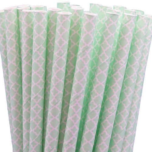 Χάρτινα Καλαμάκια Μίντ Damask / Mint Damask Paper Straws