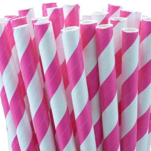 Χάρτινα Καλαμάκια Φούξια Ριγέ / Fucsia Stripes Paper Straws