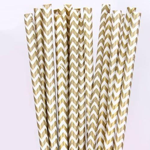 Χάρτινα Καλαμάκια ΖικΖακ Χρυσό / Gold Chevron Paper Straws