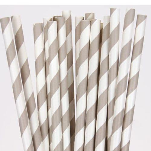 Χάρτινα Καλαμάκια Γκρι Ριγέ / Grey Stripes Paper Straws