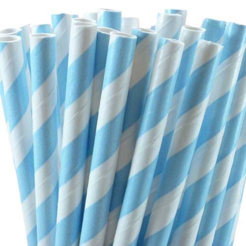Χάρτινα Καλαμάκια Γαλάζιο Ριγέ / Light Blue Stripes Paper Straws