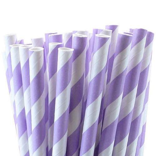 Χάρτινα Καλαμάκια Λιλά Ριγέ / Lilac Stripes Paper Straws
