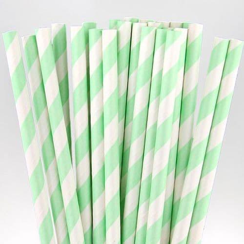 Χάρτινα Καλαμάκια Μίντ Ριγέ / Mint Stripes Paper Straws