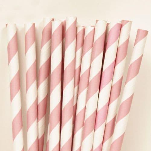 Χάρτινα Καλαμάκια Ροζ Ριγέ / Pink Stripes Paper Straws