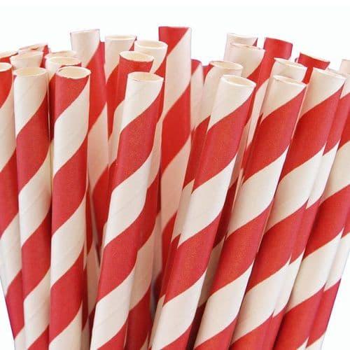 Χάρτινα Καλαμάκια Κόκκινο Ριγέ / Red Stripes Paper Straws
