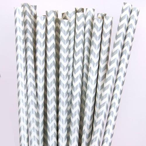 Χάρτινα Καλαμάκια ΖικΖακ Αημί/ Silver Chevron Paper Straws