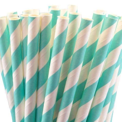 Χάρτινα Καλαμάκια Τιρκουάζ Ριγέ / Turqoise Stripes Paper Straws
