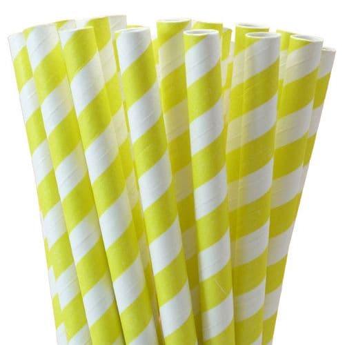 Χάρτινα Καλαμάκια Κίτρινο Ριγέ /  Yellow Stripes Paper Straws