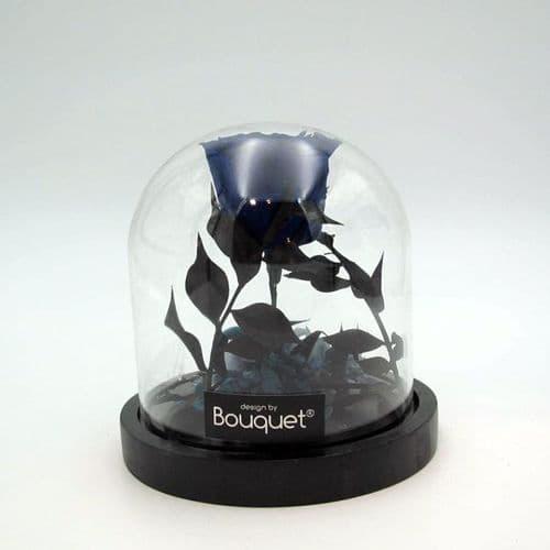 A FOREVER ROSE in a glass dome / Ενα σκούρο μπλε δΙΑΤΗΤΗΜΕΝΟ ΤΡΙΑΝΤΑΦΥΛΛΟ