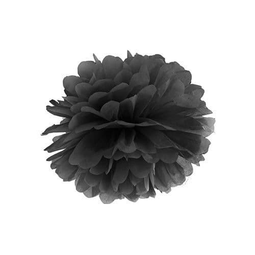 Black Paper Pom Pom 25cm - Μαυρο Χαρτινο Πομ Πομ 25εκ.