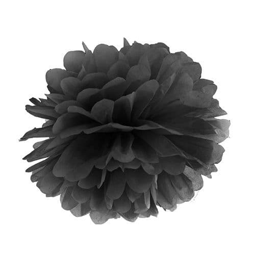 Black Paper Pom Pom 35cm - Μαυρο Χαρτινο Πομ Πομ 35εκ.