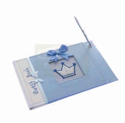 Blue Baptism guest book with pen / Μπλέ Βιβλίο ευχών βάπτισης με στυλό