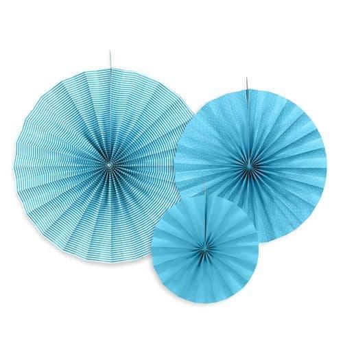 Blue Paper Rosettes Set of 3 - Μπλε Χαρτινες ροζετες Σετ των 3