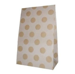 Brown dots Party bitty bags Set of 12/ Κράφτ πουά χαρτινα σακουλακια Σετ των 12