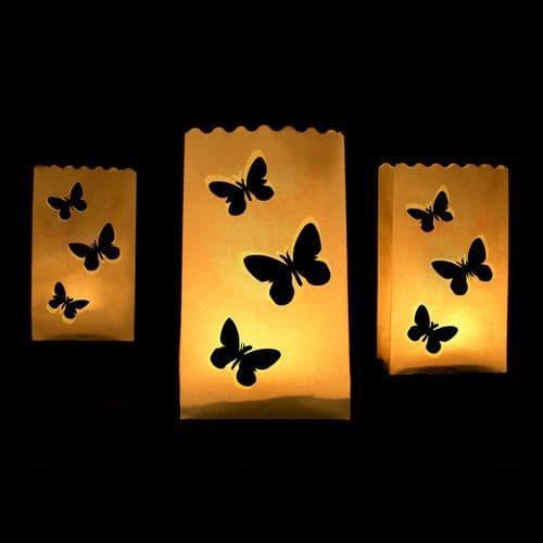 Butterflies Paper Lanterns 15X9X26cm Pack of 10 / Χαρτινα Φαναρια Πεταλούδες 15Χ9Χ26εκ. Σετ των 10
