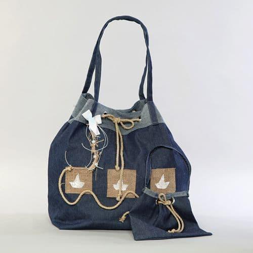 Christening blue jeans bag with a boat  / Τσάντα βάπτισης μπλουτζήν με καραβάκι